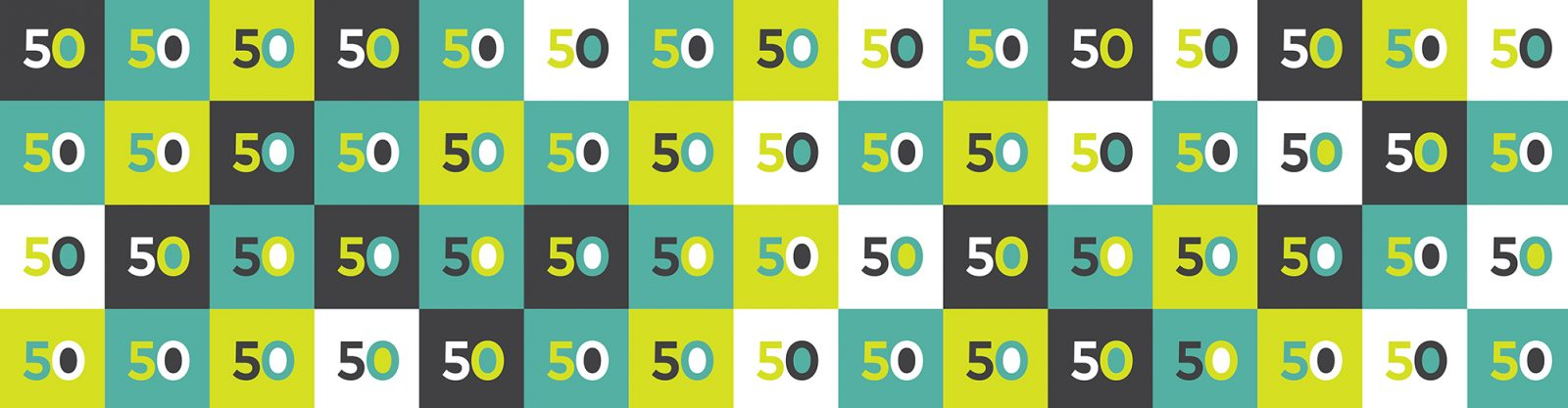 Numeral 50 repeated on different colored squares