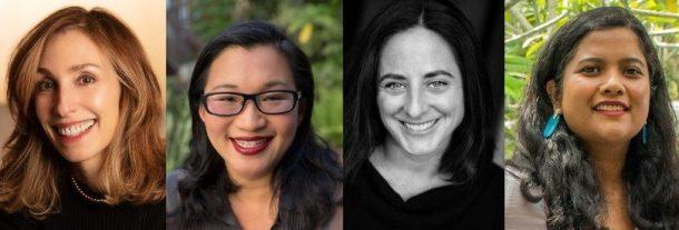 Erica Huggins 83F, Sarah Goldfinger 94F, Arpita Kumar 03F, and Elle Chan 87F