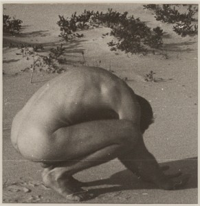Jared French Untitled (Crouching Male Nude on the Beach) (1946) Photograph, gelatin silver print 4 1/8 x 4 in. Mead Art Museum at Amherst College AC 2012.287 Museum Purchase with funds donated by Andrew J. Shilling (Class of 1989) and Kirsten N. Shilling; Jennifer S. Stein (Class of 1993) and Josh B. Stein; and A. Gary Shilling (Class of 1959) and Margaret B. Shilling