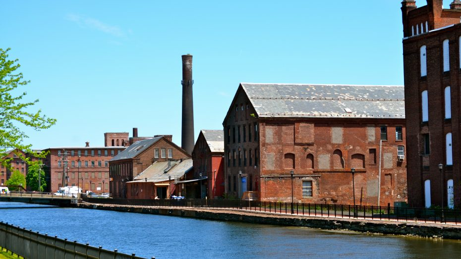 Brick mill buildings along Holyoke canal