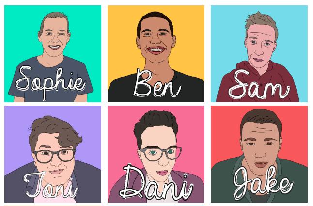 Portrait drawings of 6 people
