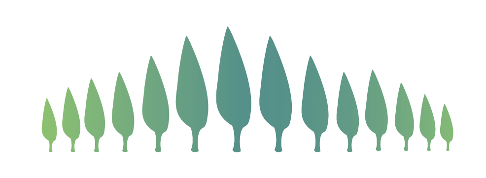 Illustration of cascading trees at different heights