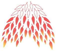 illustration of a swarm of red flame leaves pointing downward
