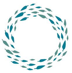Illustration of a wreath of blue leaves