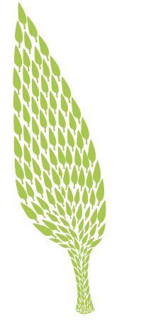 Illustration of small leaves shaped into one large leaf