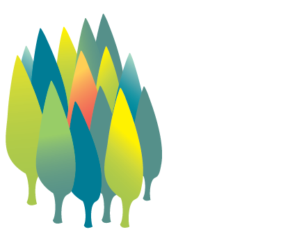illustration of a cluster of colorful trees
