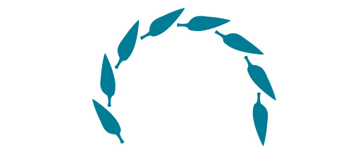 illustration of blue leaves in a half circle