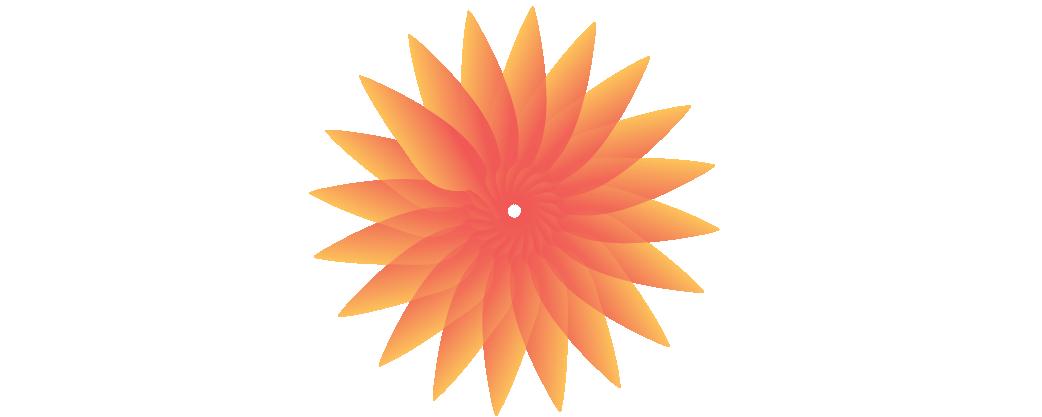 illustration of orange gradient sunburst