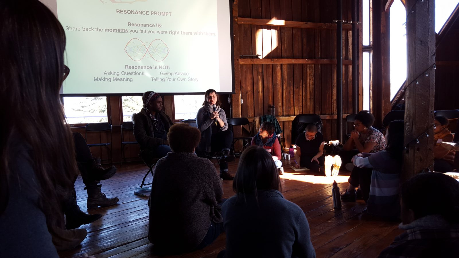 Javiera sharing at the Culture of Radical Engagement Residency
