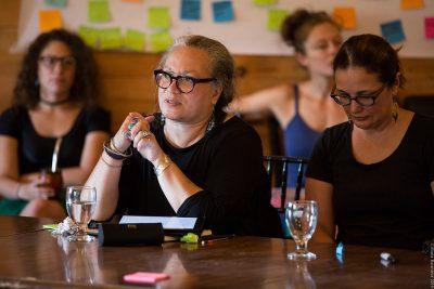 art and surivival participants talking