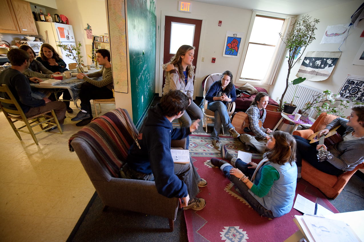 Students talking in a group