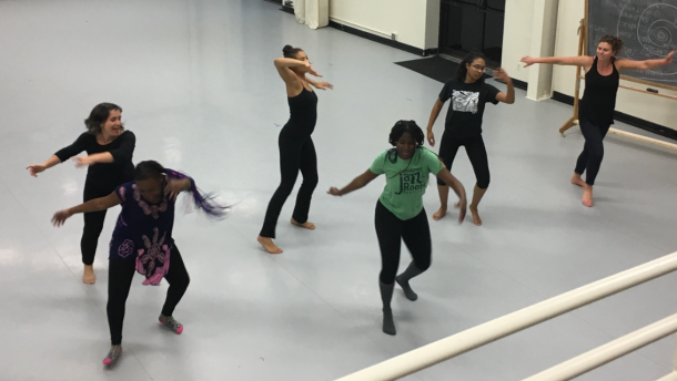Young women's program dancing in studio