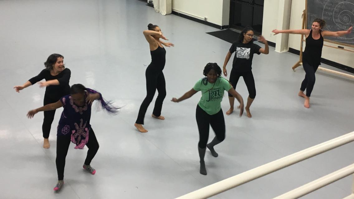 Young women's program dancing in studio