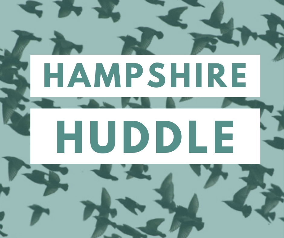 Hampshire Huddle text on pale blue-green background image of birds flocking
