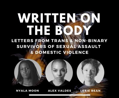 Poster for Written on the Body, features the faces of three contributors over a butterfly background