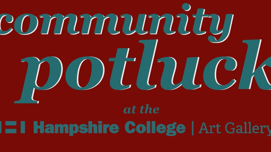 Blue text with white backlight on burgundy background that says Community Potluck