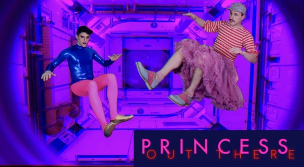 Michael O'Neill and Alexis Gideon floating in space shuttle with pink/blue lighting