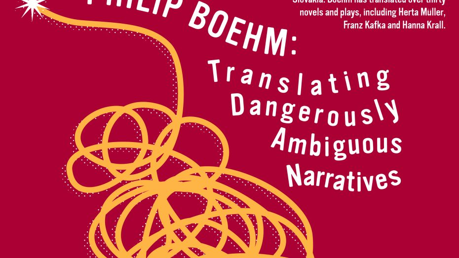 Burgundy flyer with yellow scribble and text describing Philip Boehm's talk