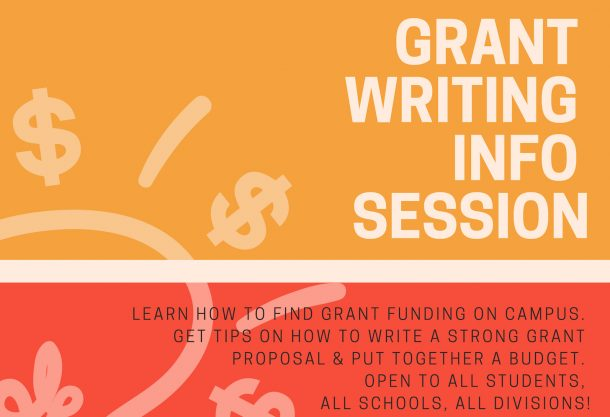 grant info session flyer in orange and salmon blocks with light bulb image