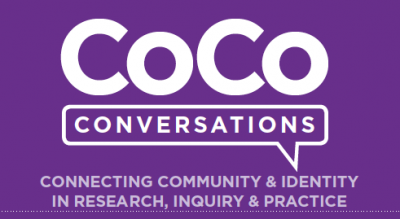 "The abbreviation ""CoCo"" stands in for ""Community Commons"" above a speech bubble with the word Conversations. This logo corresponds to the CoCo Convos dinner series."