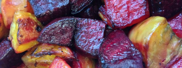 red and golden roasted beets