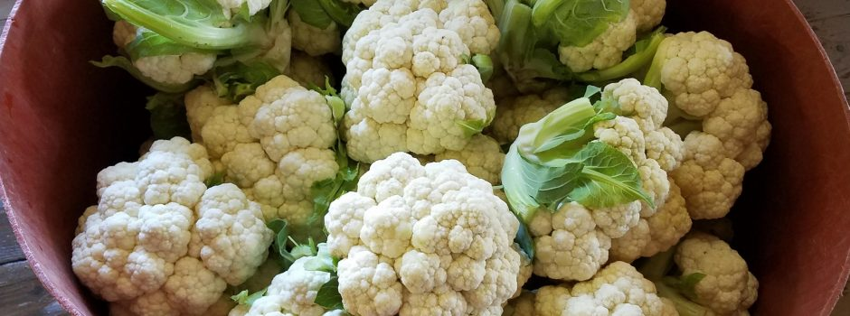 large bucket of cauliflower