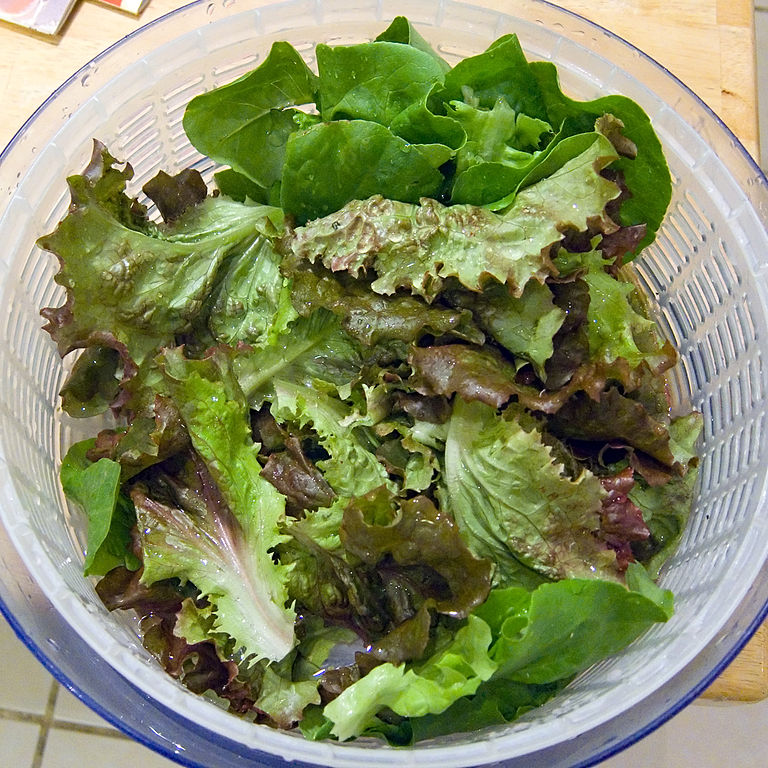 salad in spinner