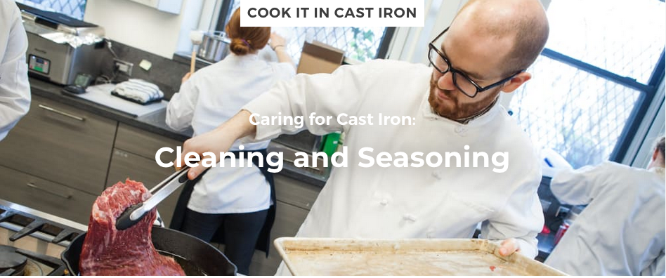 man cooking meat in cast iron pan