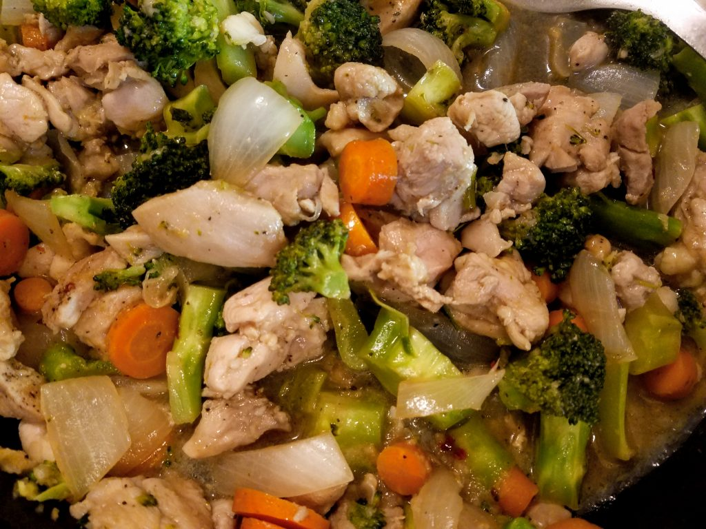 chicken and broccoli stir fry closeup