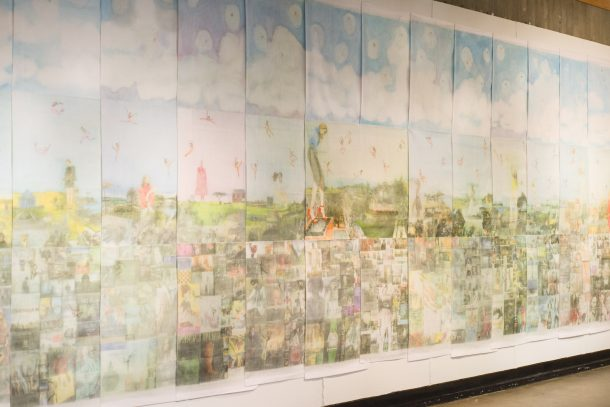 large textile installation with colorful collages magazine image transfers