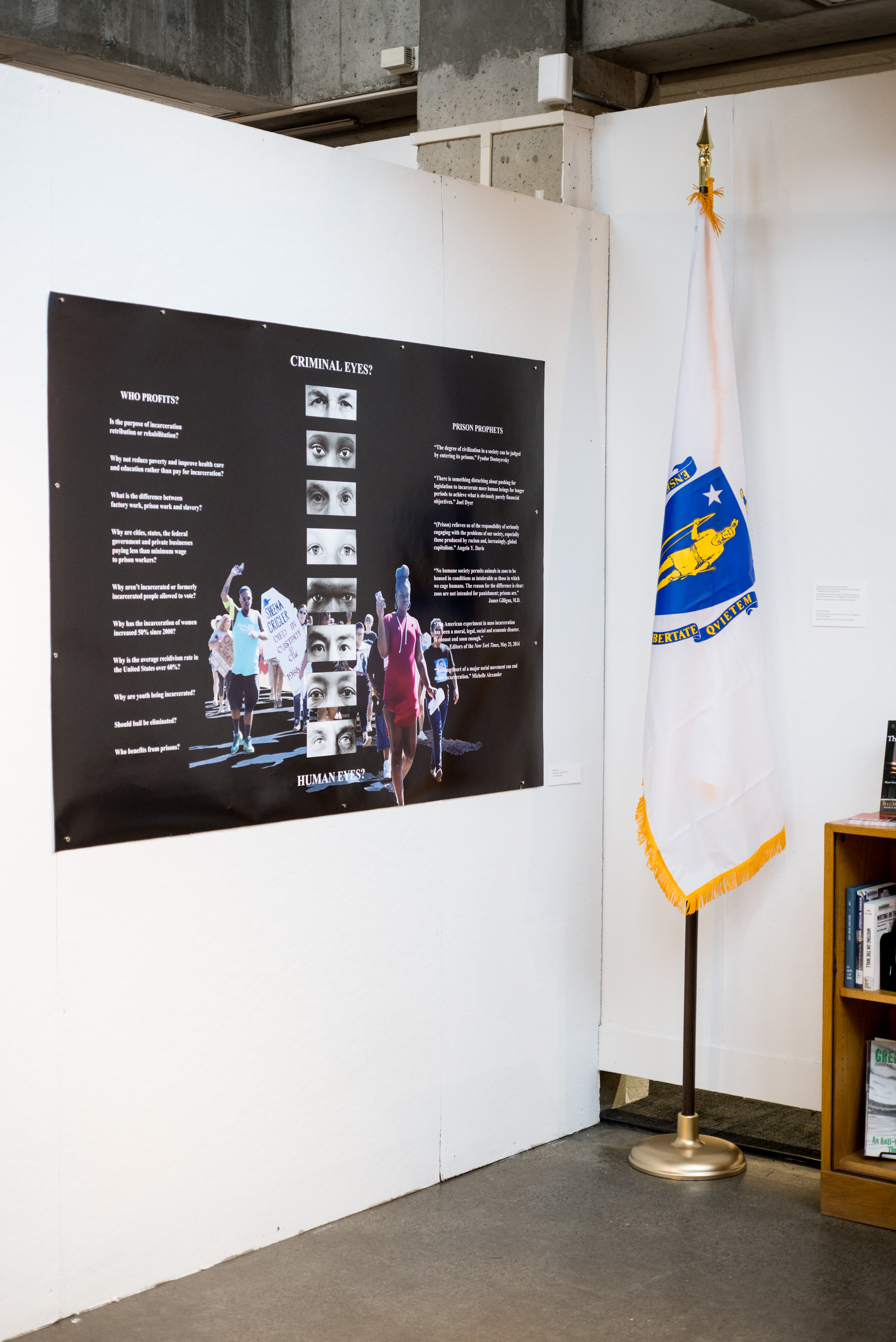 gallery walls with a large infographic print and a flag next to a small bookcase