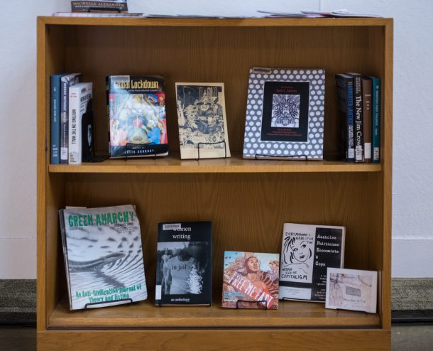 image: small bookcase with a variety of books related to the prison industrial complex in America