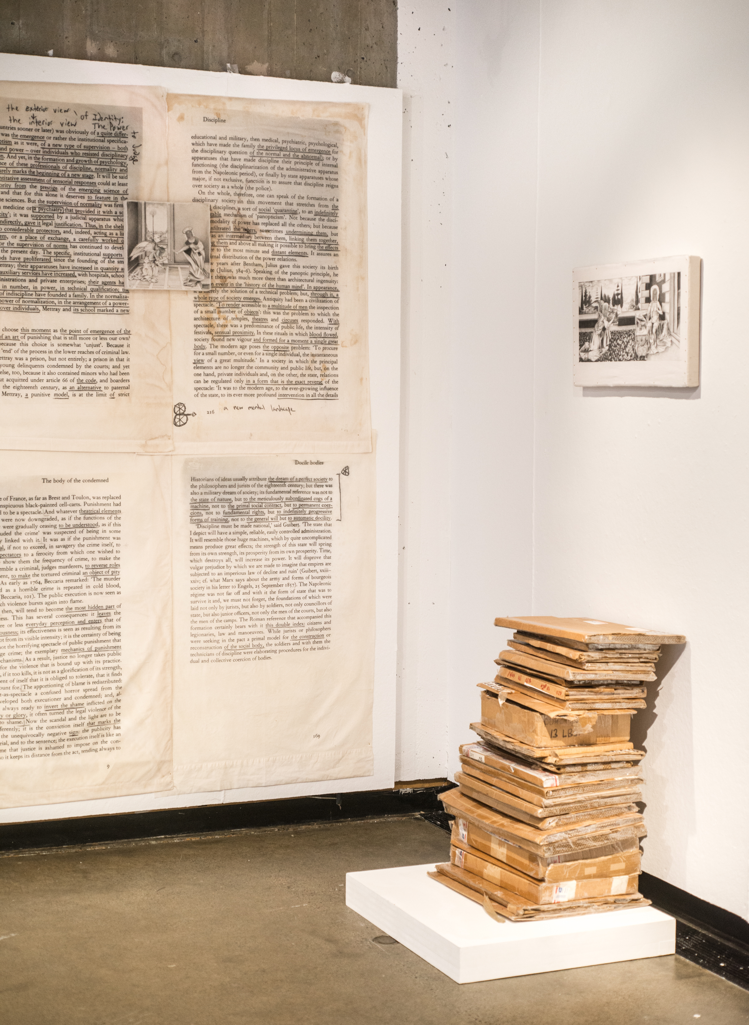 Jesse Krimes' work, including the shipping boxes that were used to smuggle his work out of prison.
