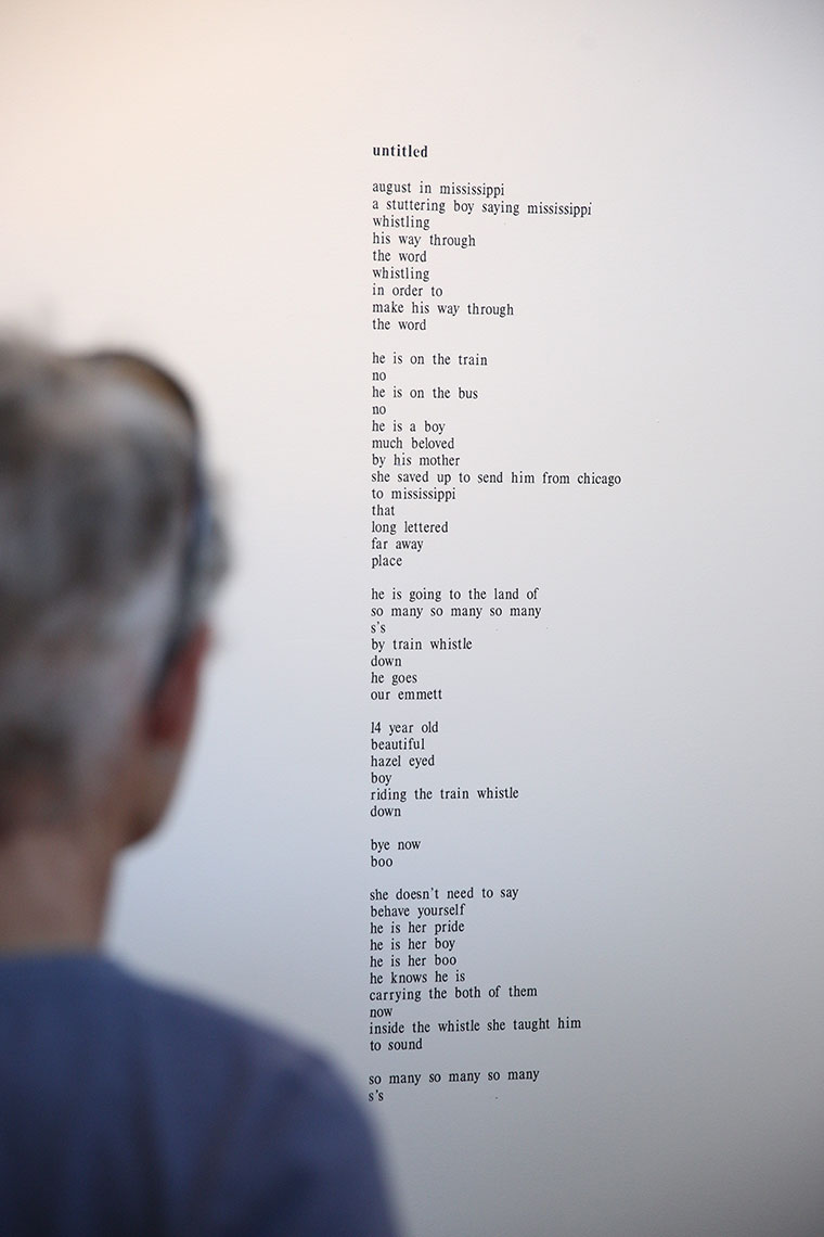 lê poem installation with figure