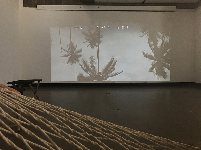 video installation upside down palm trees and hammock