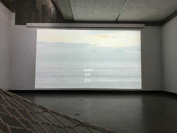 video installation she will build over ocean horizon