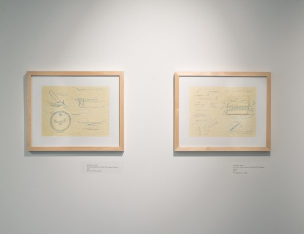two framed illustrations of plane plans