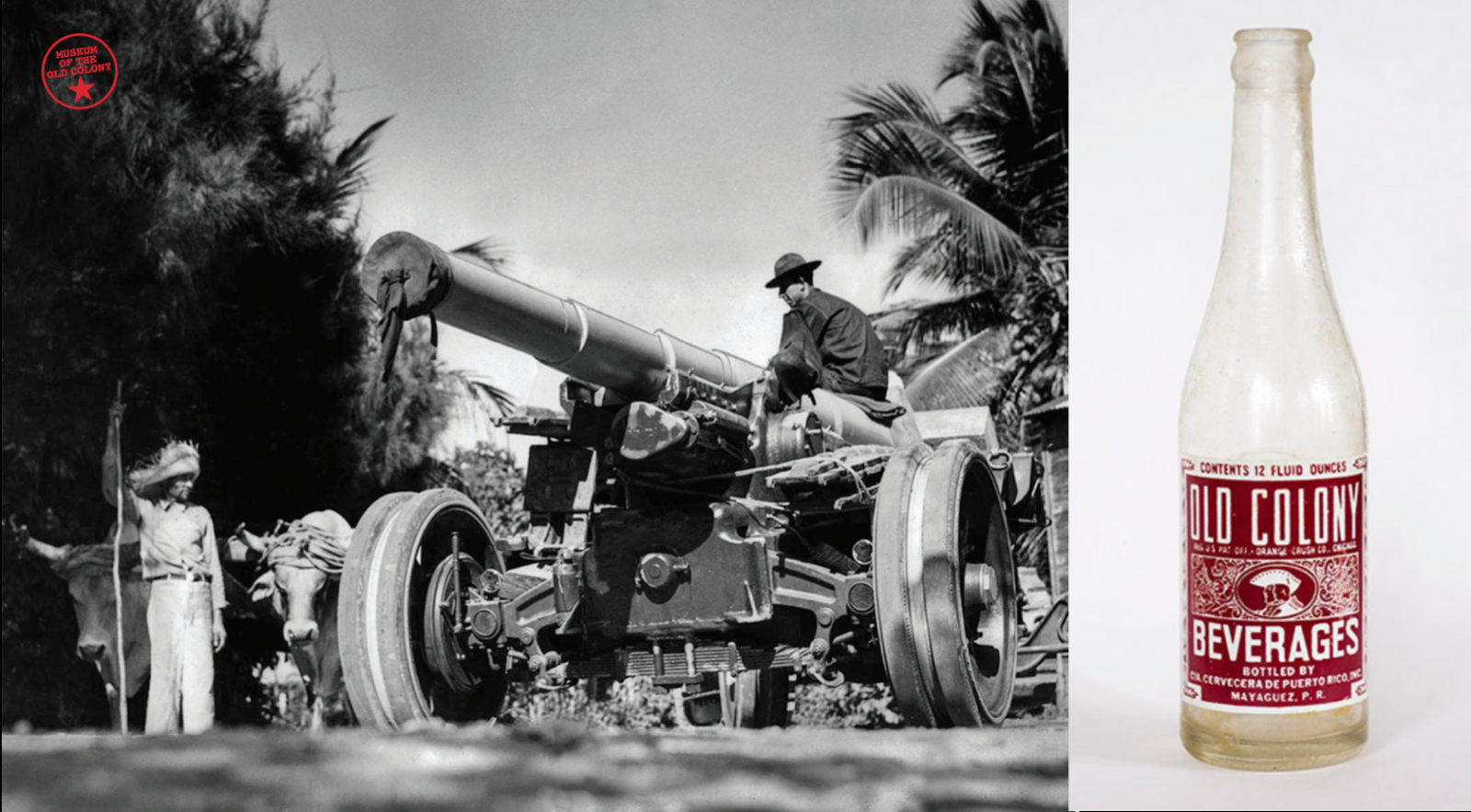 archival photograph of soldier with tank, photograph of Old Colony brand soda bottle