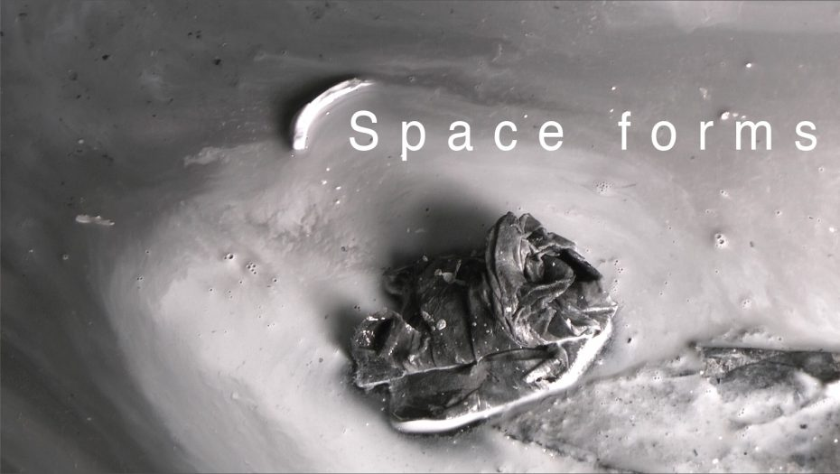 """Flyer for Div III student Anton Kaplan's gallery show entitled """"Space forms""""."""