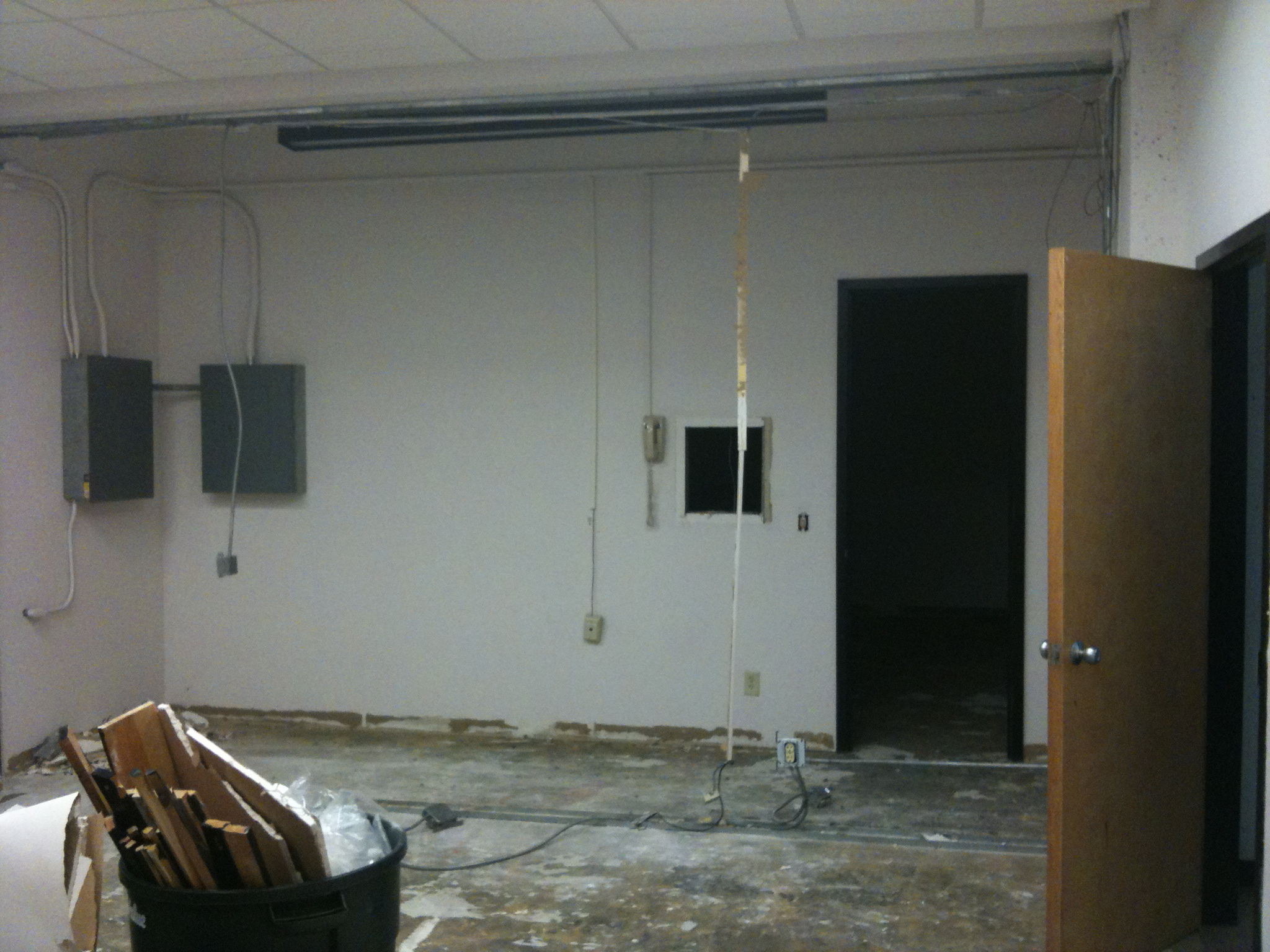 On Friday, 7/16, the wall between Googie (the film preview room) and the projection booth/hallway/room got taken down