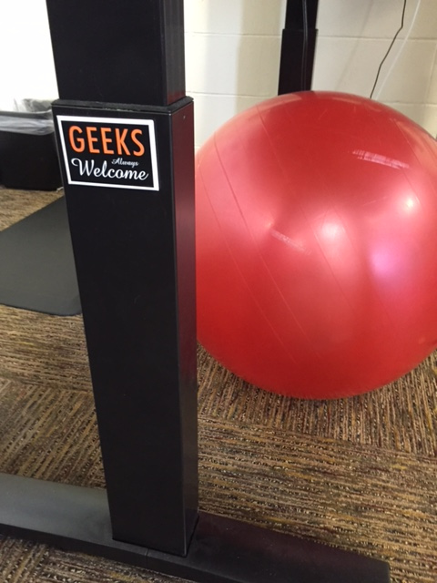 Yoga ball and Geeks Welcome magnet