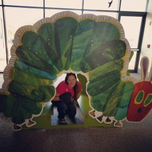 Sarah and the hungry caterpiillar at the Eric Carle Museum