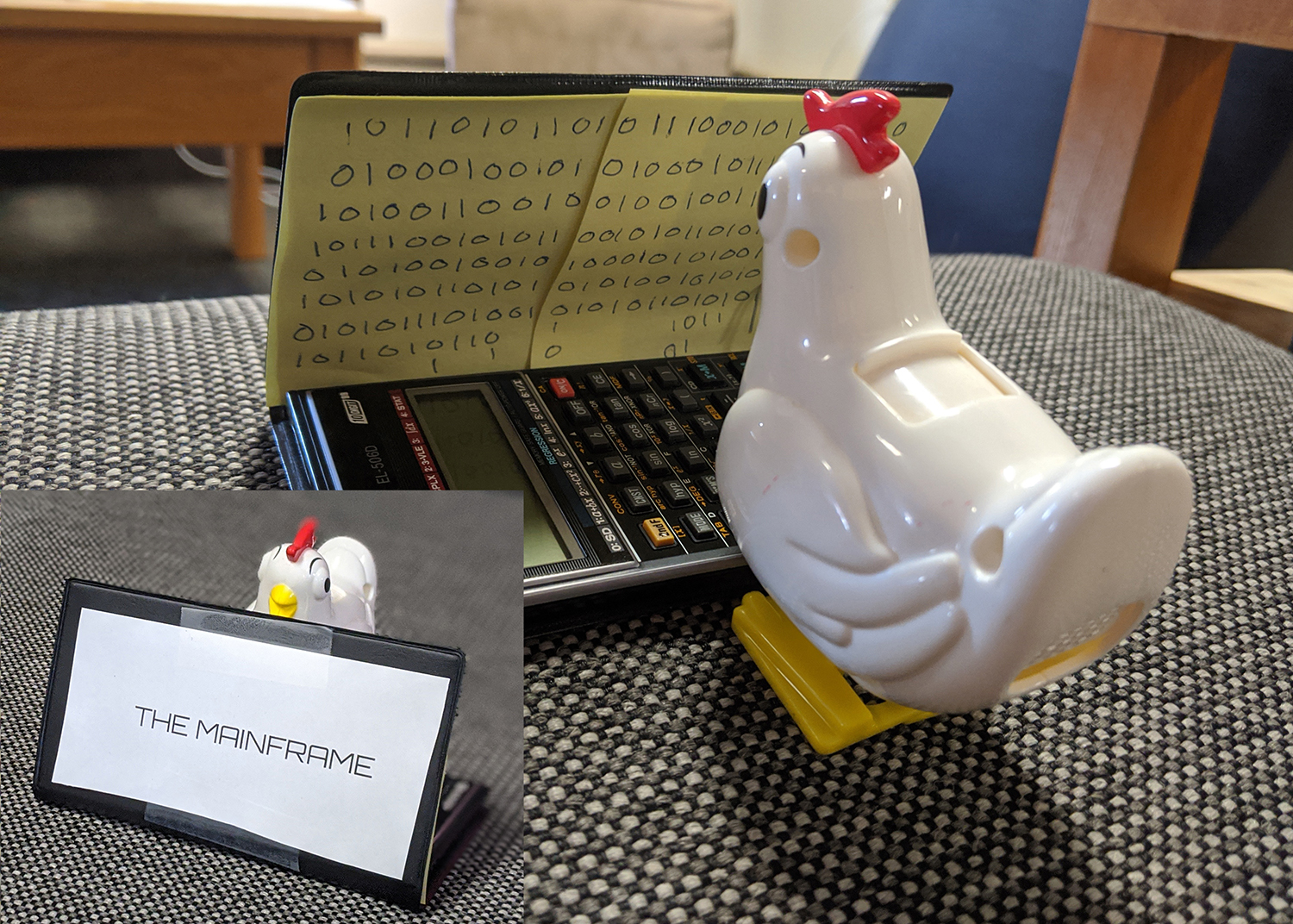 Toy chicken reading ones and zeros on a calculator converted into a laptop