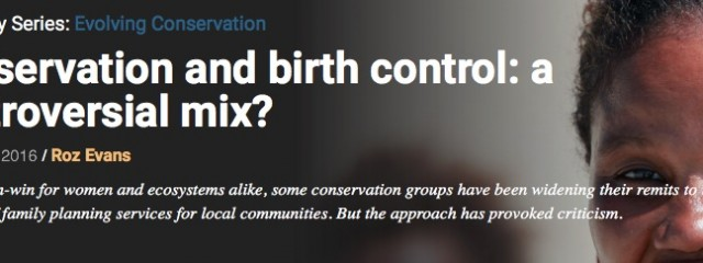 March 2016 Mongabay Series Cover: Conservation and birth control: a controversial mix?