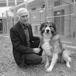 Ray Coppinger with Hampshire College Farm dog