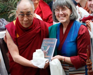Sue met His Holiness in January 2013 at Sarnath, India when directing the Tibetan Studies in India Program, and had the opportunity to present him with her book.