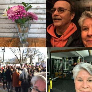 Tammy with husband, at gym, at women's march, vase of purple flowers