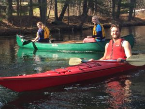 Students kayaking and canoeing