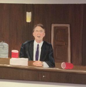 A painted portrait of Brett Kavanaugh