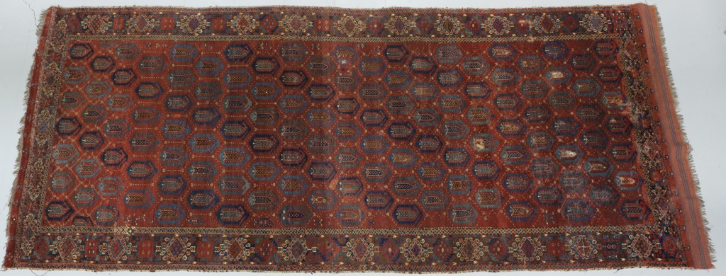 Maker: Unknown Culture: Turkoman (Ersari) Title: Ersari main carpet Date Made: 19th century (later) Type: Textile Materials: woven textile; wool Place Made: Asia; Transoxiana Measurements: Overall: 66 3/16 in x 133 1/2 in; 168.1 cm x 339.1 cm Credit Line: Bequest of William R. Mead Accession Number: HTR.1936.24 Collection: Mead Art Museum, Amherst College